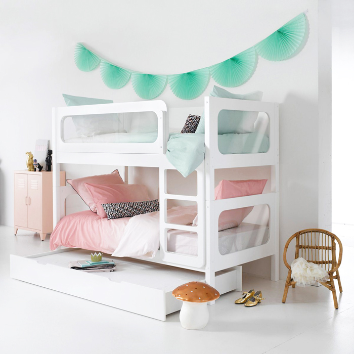 white modern bunk bed