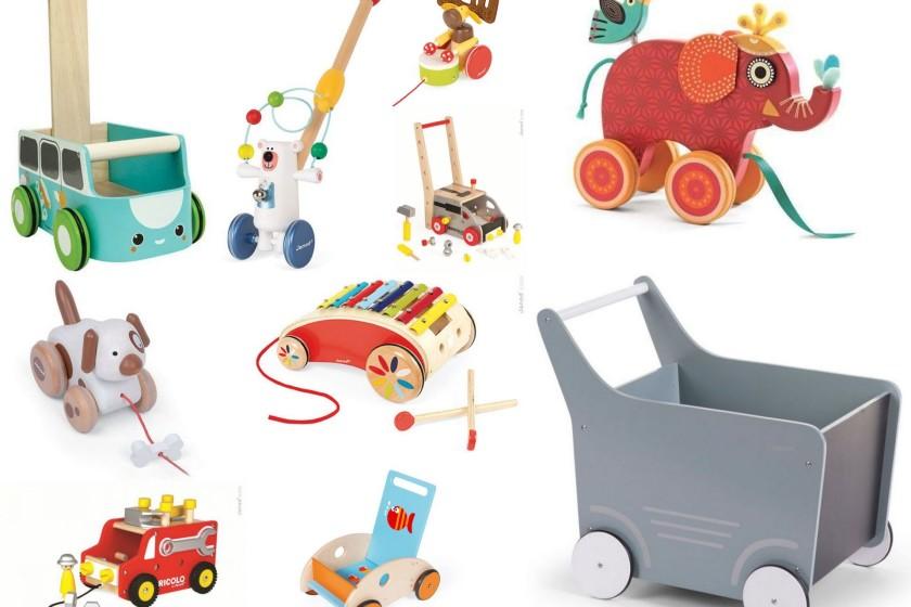drewniane zabawki do pchania i ciagniecia