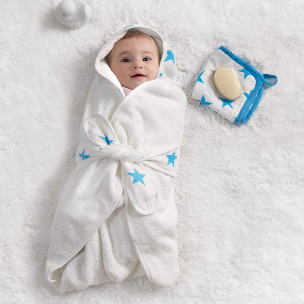 baby bath wrap fluro blue