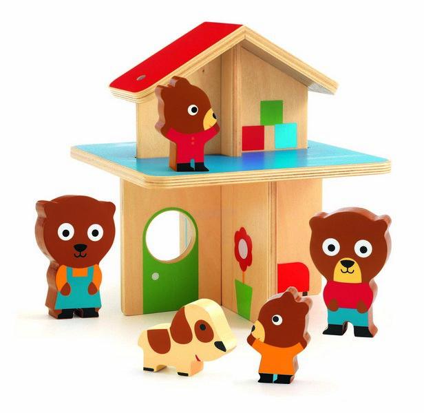 4 Djeco Drewniany Domek z Misiami